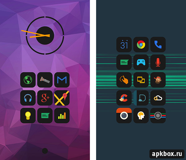 Mador Icon Pack. Чёрные иконки на Android