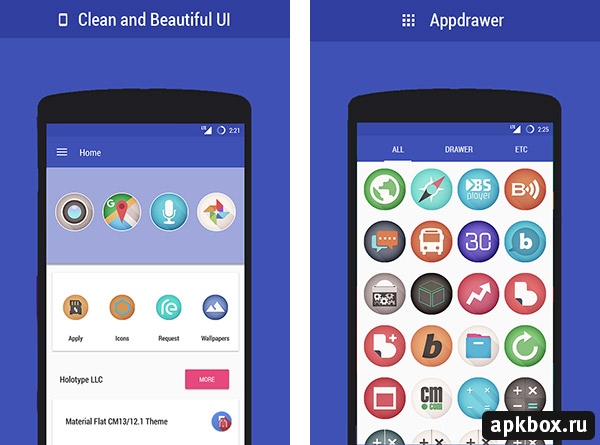 Flat Vignette UI Icon Pack. Themes for Android
