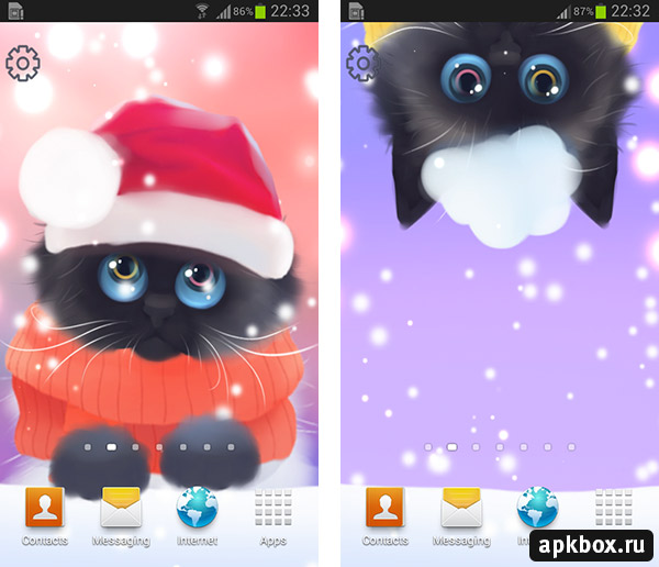 Christmas Kitten Live Wallpaper